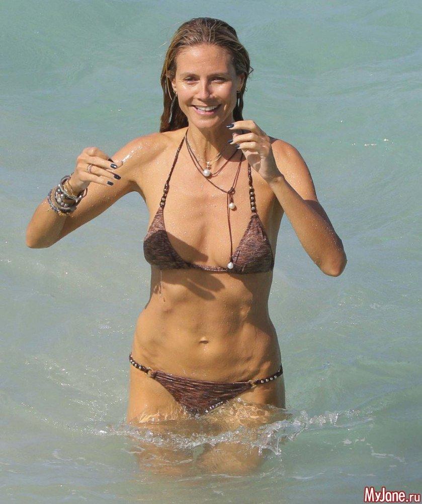 Супермодель Хайди Клум стесняется носить бикини на пляже